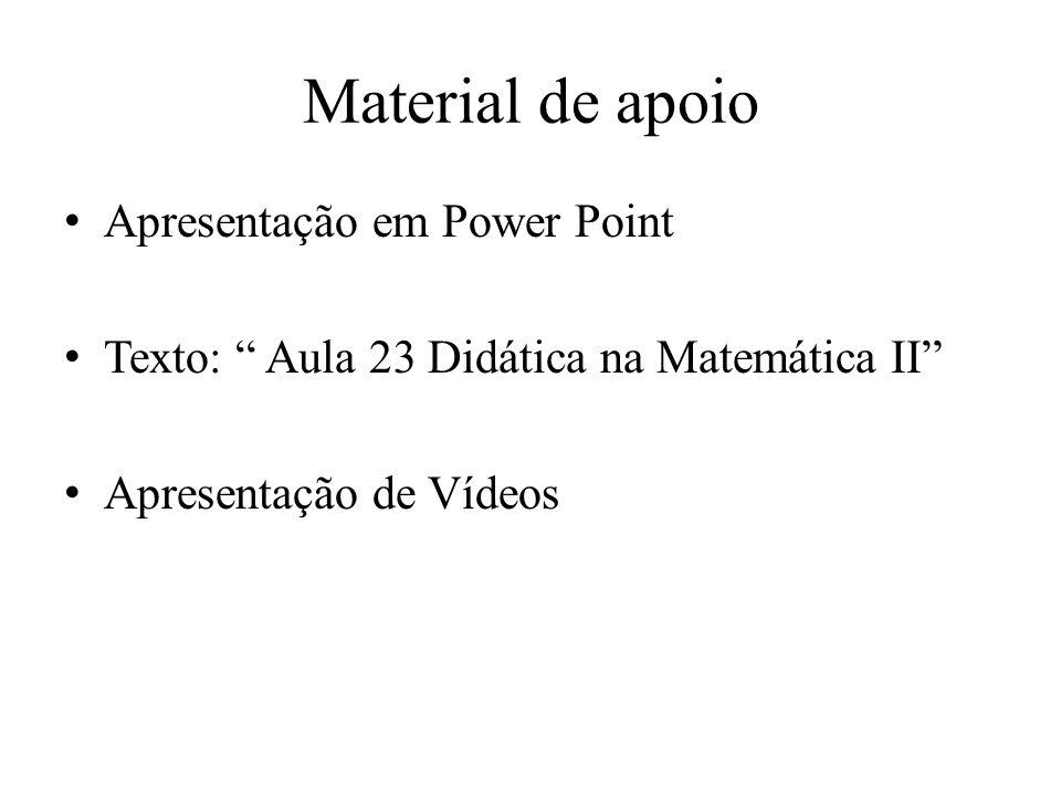 Material de apoio Apresentação em Power Point Texto: Aula 23 Didática na Matemática II Apresentação de Vídeos