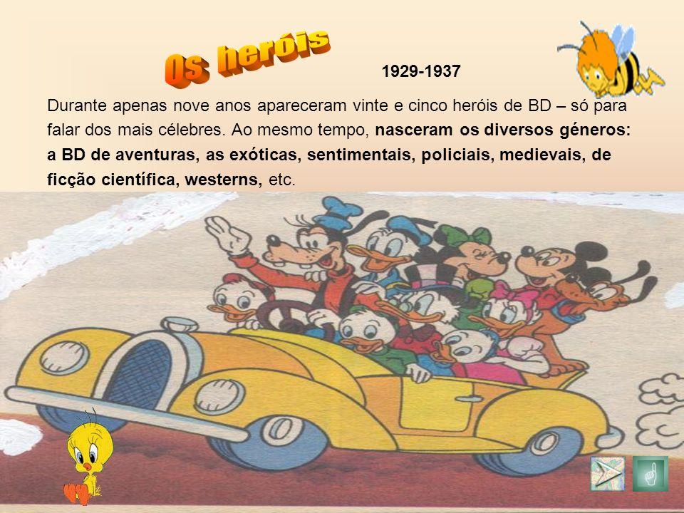 Durante apenas nove anos apareceram vinte e cinco heróis de BD – só para falar dos mais célebres. Ao mesmo tempo, nasceram os diversos géneros: a BD d