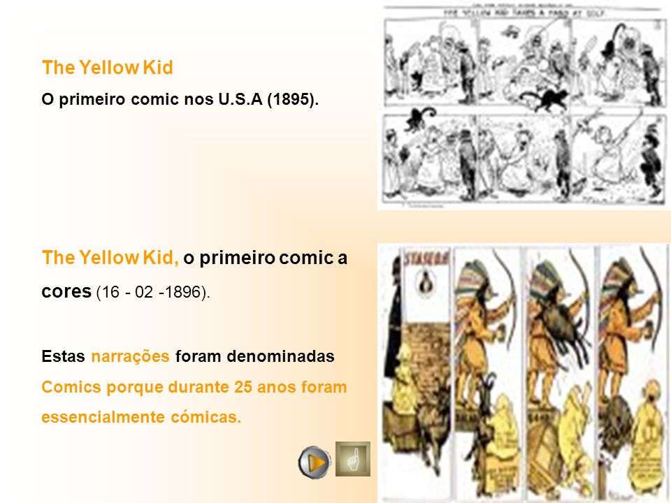 The Yellow Kid O primeiro comic nos U.S.A (1895). The Yellow Kid, o primeiro comic a cores (16 - 02 -1896). Estas narrações foram denominadas Comics p