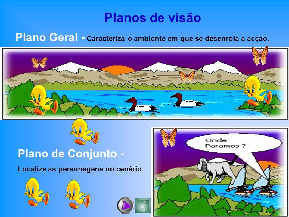 Planos de visão Plano Geral - Caracteriza o ambiente em que se desenrola a acção. Plano de Conjunto - Localiza as personagens no cenário.
