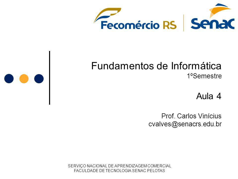 Fundamentos de Informática 1ºSemestre Aula 4 Prof. Carlos Vinícius cvalves@senacrs.edu.br SERVIÇO NACIONAL DE APRENDIZAGEM COMERCIAL FACULDADE DE TECN