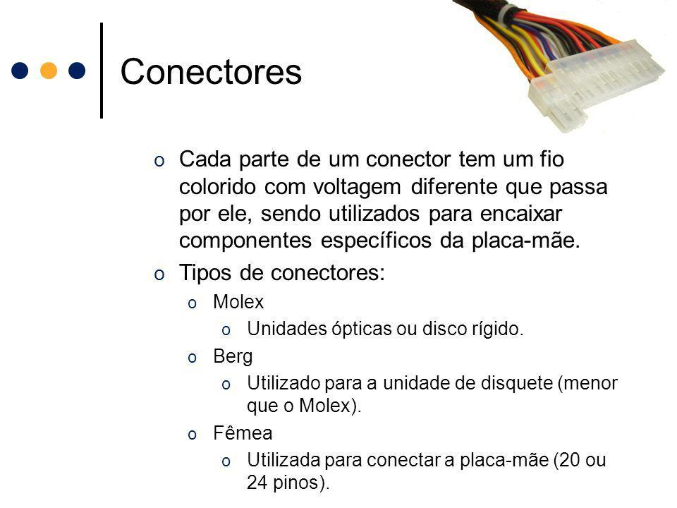 Conectores o Cada parte de um conector tem um fio colorido com voltagem diferente que passa por ele, sendo utilizados para encaixar componentes especí