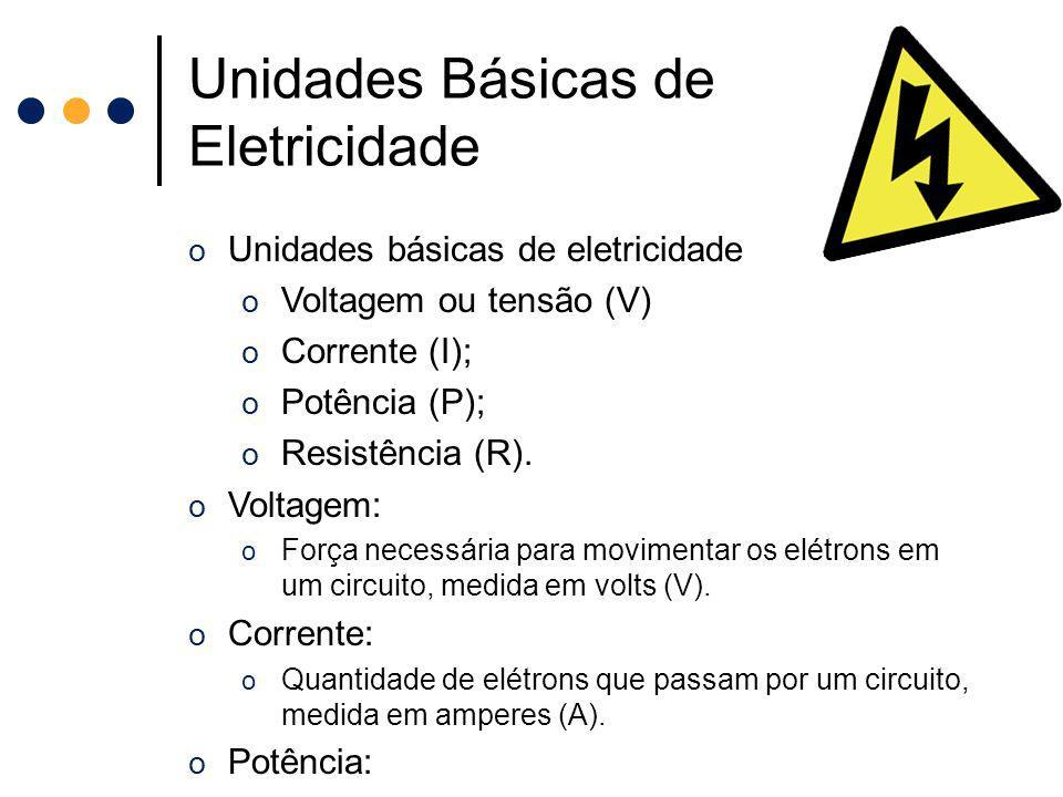Unidades Básicas de Eletricidade o Unidades básicas de eletricidade o Voltagem ou tensão (V) o Corrente (I); o Potência (P); o Resistência (R). o Volt