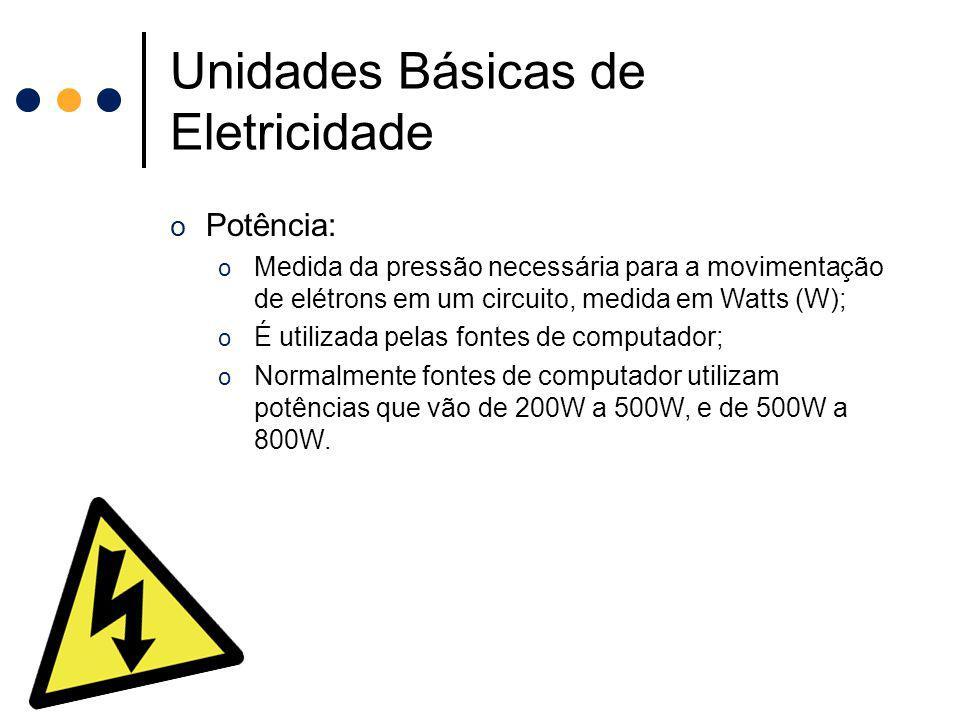 Unidades Básicas de Eletricidade o Potência: o Medida da pressão necessária para a movimentação de elétrons em um circuito, medida em Watts (W); o É u