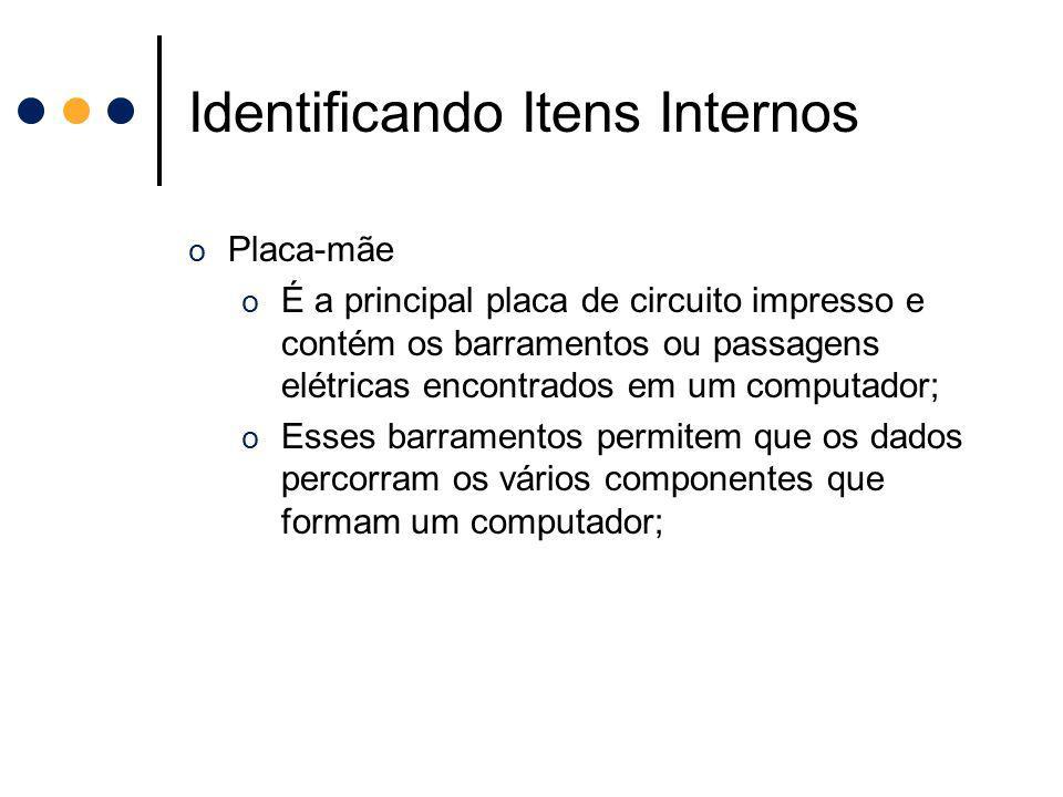 Identificando Itens Internos o Placa-mãe o É a principal placa de circuito impresso e contém os barramentos ou passagens elétricas encontrados em um c