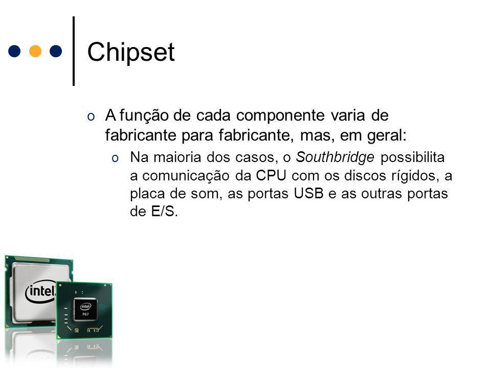 Chipset o A função de cada componente varia de fabricante para fabricante, mas, em geral: o Na maioria dos casos, o Southbridge possibilita a comunica