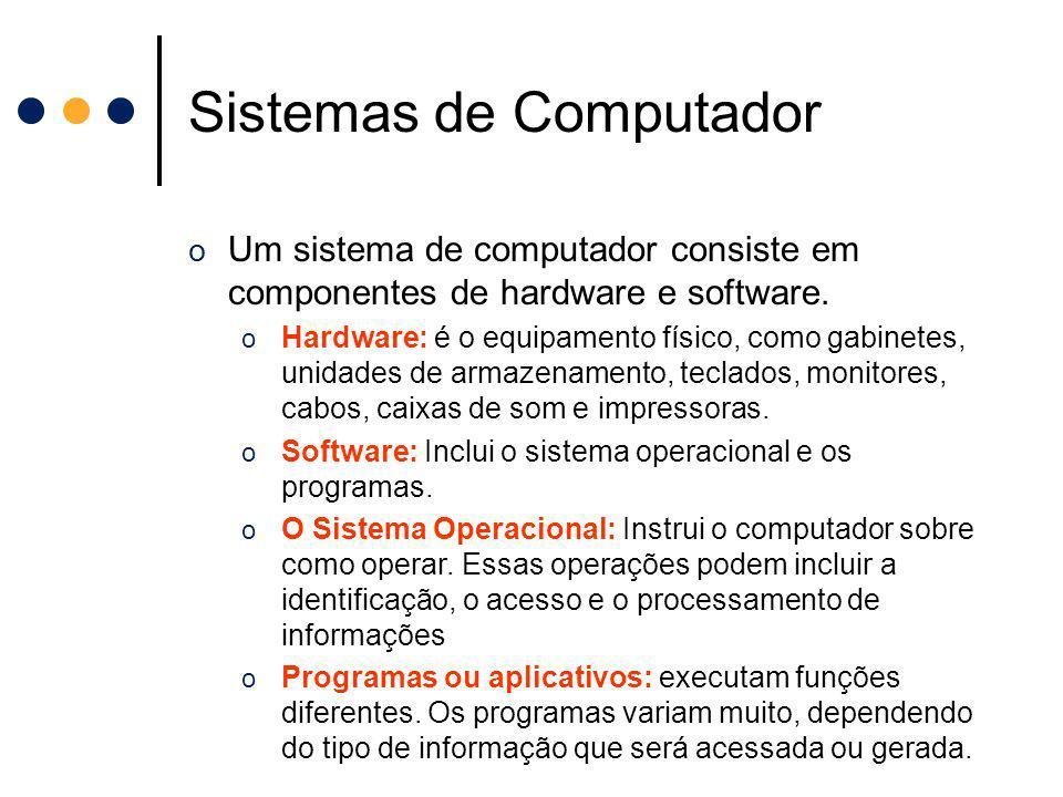 Sistemas de Computador o Um sistema de computador consiste em componentes de hardware e software. o Hardware: é o equipamento físico, como gabinetes,