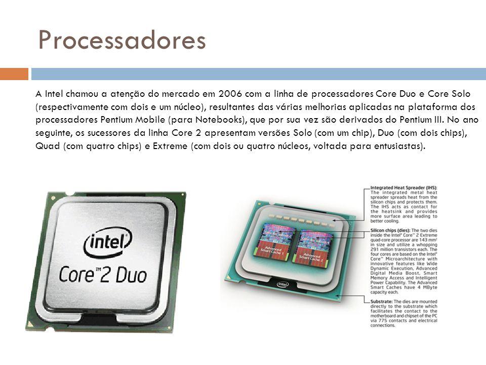 Processadores A Intel chamou a atenção do mercado em 2006 com a linha de processadores Core Duo e Core Solo (respectivamente com dois e um núcleo), resultantes das várias melhorias aplicadas na plataforma dos processadores Pentium Mobile (para Notebooks), que por sua vez são derivados do Pentium III.