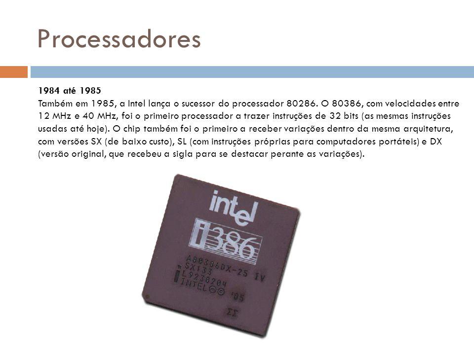 Processadores 1984 até 1985 Também em 1985, a Intel lança o sucessor do processador 80286.