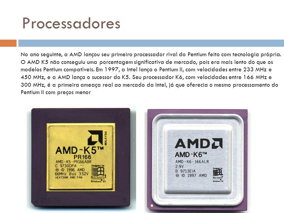 Processadores A Intel decidiu contra atacar em 1998, dividindo sua família de processadores em três: Pentium para o mercado doméstico; Celeron, para computadores de baixo custo; e Xeon, para servidores que precisavam de alto desempenho.