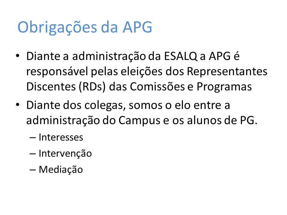 Obrigações da APG Diante a administração da ESALQ a APG é responsável pelas eleições dos Representantes Discentes (RDs) das Comissões e Programas Diante dos colegas, somos o elo entre a administração do Campus e os alunos de PG.