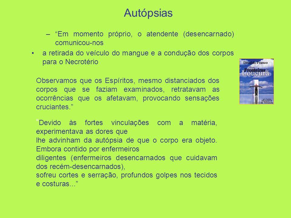 Autópsias –Em momento próprio, o atendente (desencarnado) comunicou-nos a retirada do veículo do mangue e a condução dos corpos para o Necrotério Obse
