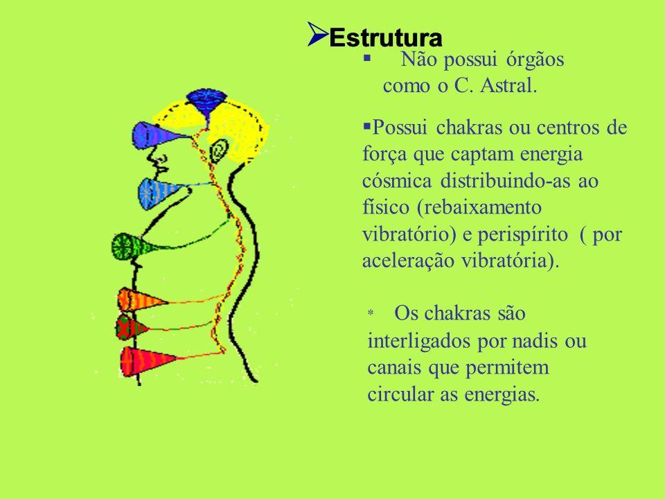 Não possui órgãos como o C. Astral. Estrutura * Os chakras são interligados por nadis ou canais que permitem circular as energias. Possui chakras ou c