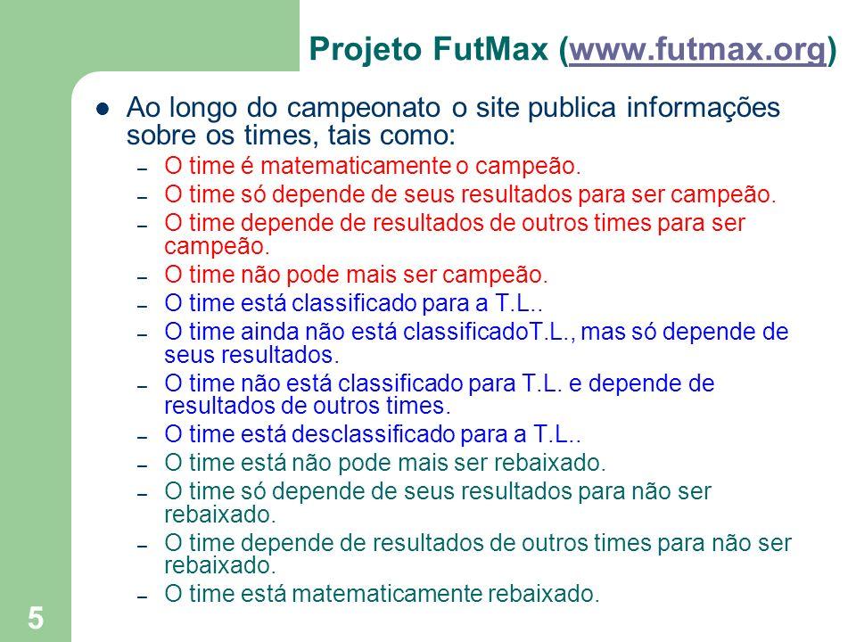 5 Projeto FutMax (www.futmax.org)www.futmax.org Ao longo do campeonato o site publica informações sobre os times, tais como: – O time é matematicament
