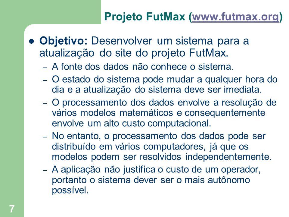 7 Projeto FutMax (www.futmax.org)www.futmax.org Objetivo: Desenvolver um sistema para a atualização do site do projeto FutMax. – A fonte dos dados não
