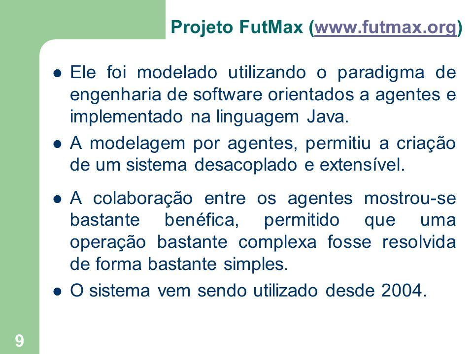 9 Projeto FutMax (www.futmax.org)www.futmax.org Ele foi modelado utilizando o paradigma de engenharia de software orientados a agentes e implementado