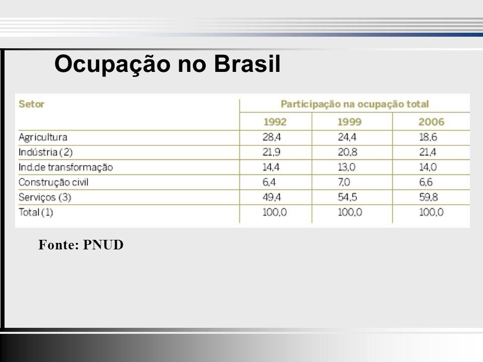 Ocupação no Brasil Fonte: PNUD
