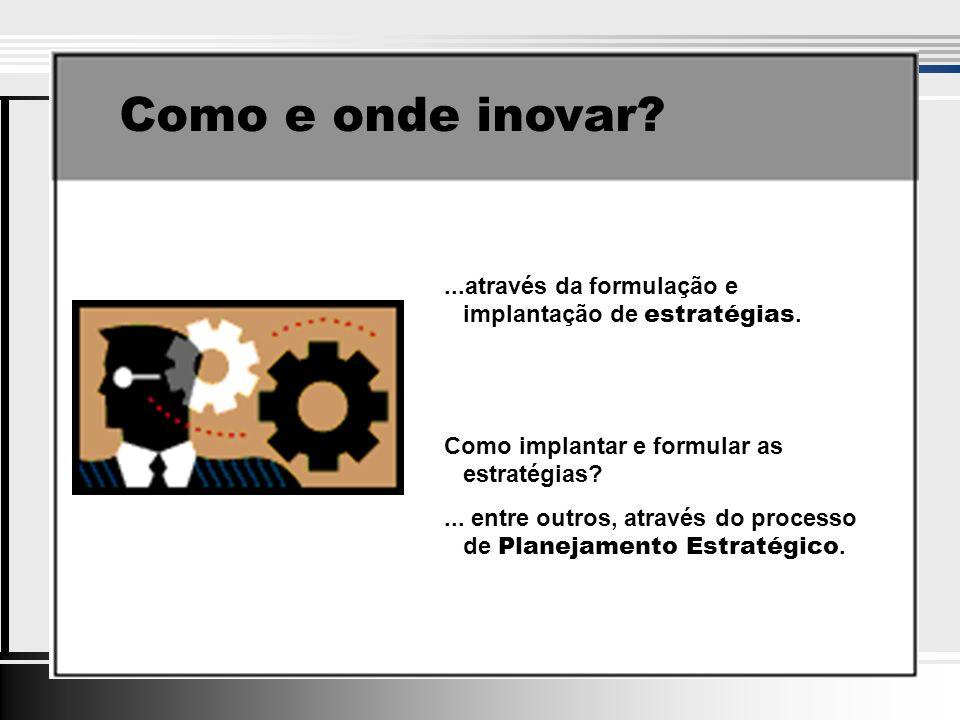 Como e onde inovar?...através da formulação e implantação de estratégias.