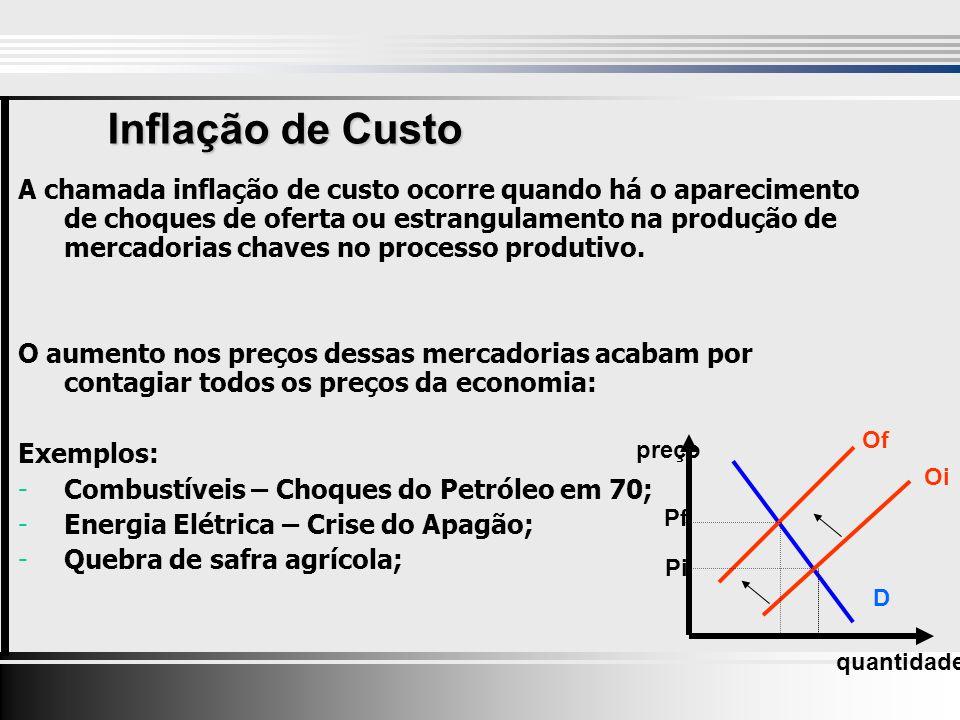 Inflação de Custo A chamada inflação de custo ocorre quando há o aparecimento de choques de oferta ou estrangulamento na produção de mercadorias chaves no processo produtivo.