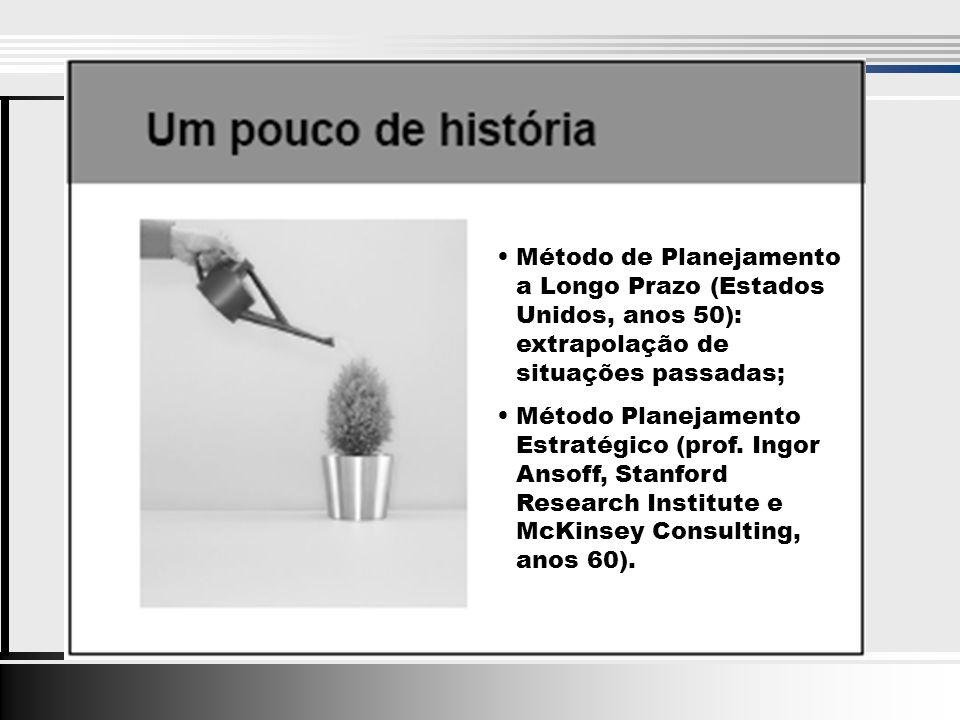 Método de Planejamento a Longo Prazo (Estados Unidos, anos 50): extrapolação de situações passadas; Método Planejamento Estratégico (prof.