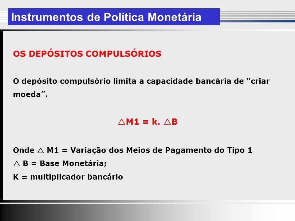 OS DEPÓSITOS COMPULSÓRIOS O depósito compulsório limita a capacidade bancária de criar moeda.