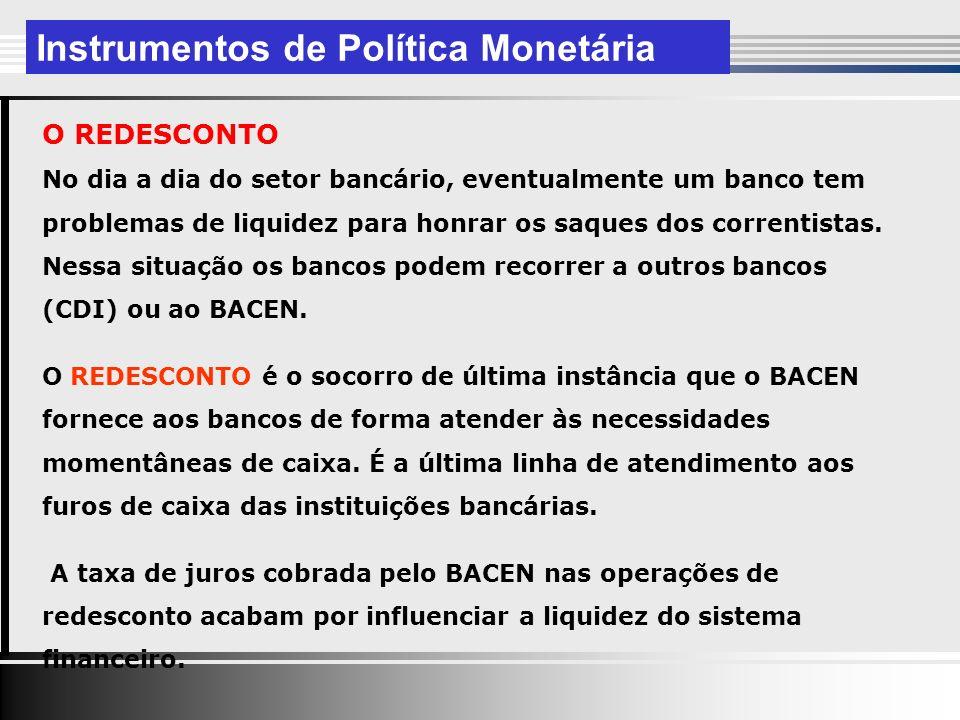 O REDESCONTO No dia a dia do setor bancário, eventualmente um banco tem problemas de liquidez para honrar os saques dos correntistas.
