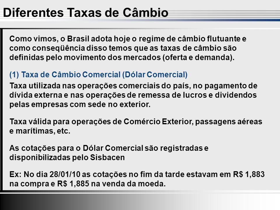 Como vimos, o Brasil adota hoje o regime de câmbio flutuante e como conseqüência disso temos que as taxas de câmbio são definidas pelo movimento dos mercados (oferta e demanda).