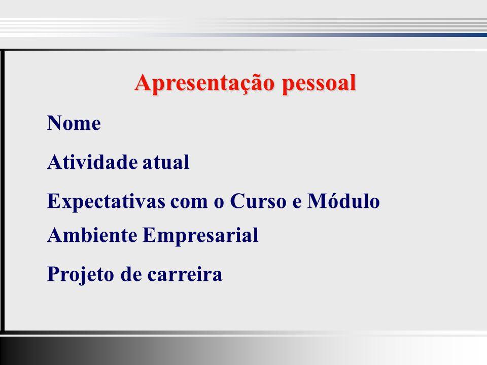 Nome Atividade atual Expectativas com o Curso e Módulo Ambiente Empresarial Projeto de carreira Apresentação pessoal
