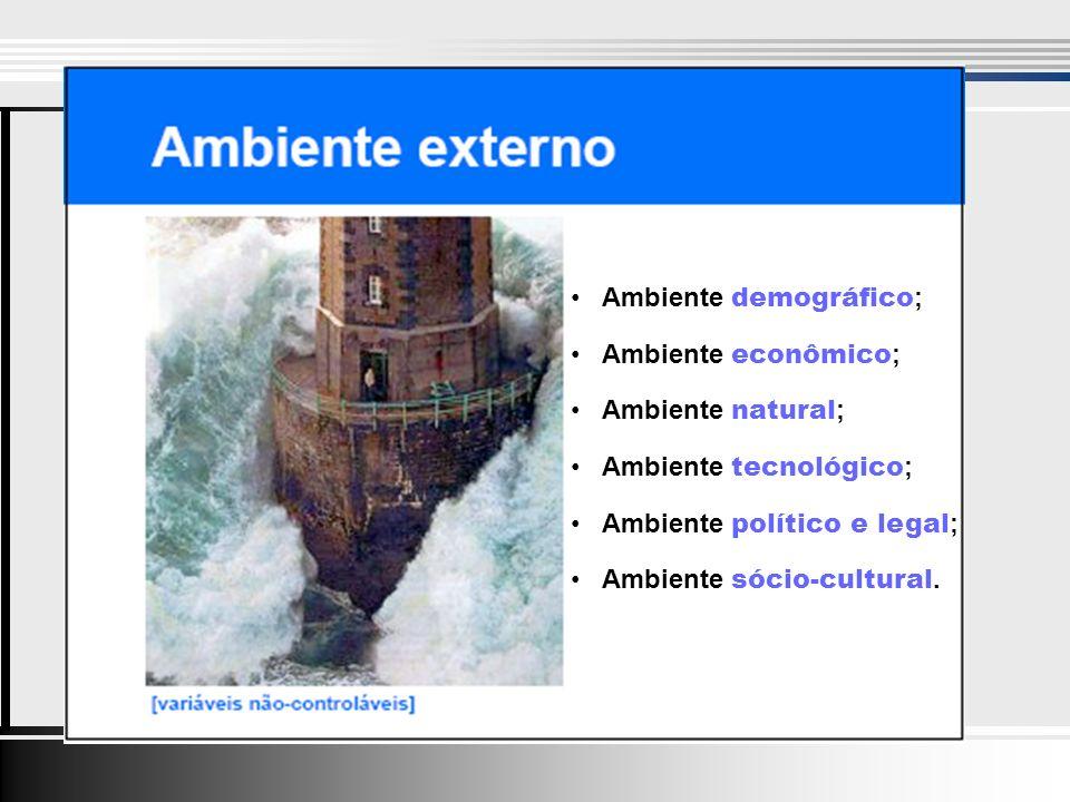 Ambiente demográfico ; Ambiente econômico ; Ambiente natural ; Ambiente tecnológico ; Ambiente político e legal ; Ambiente sócio-cultural.