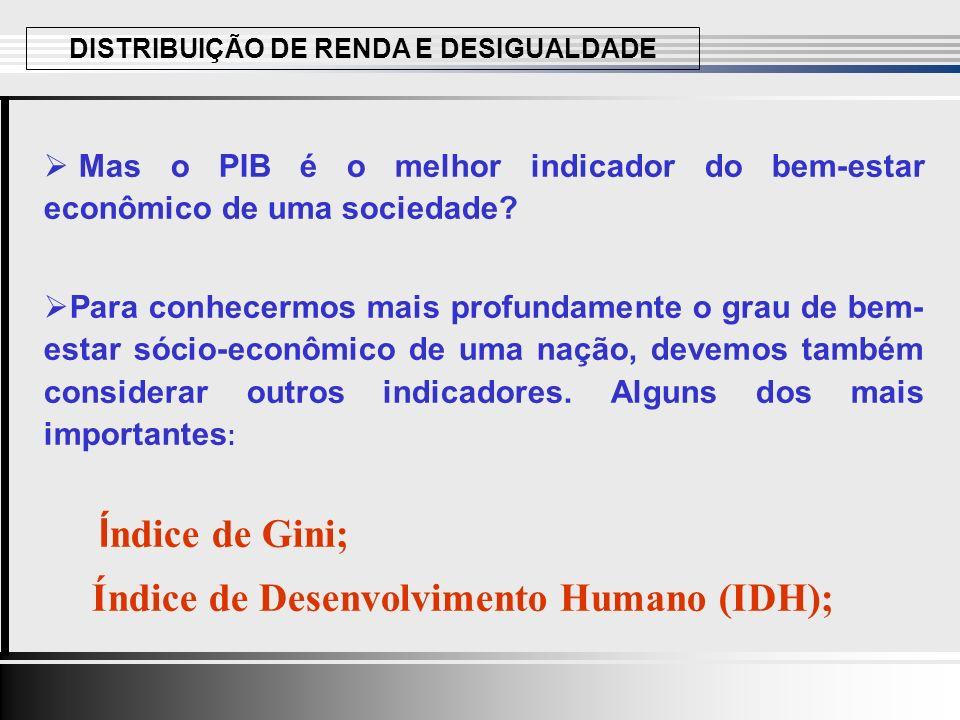Mas o PIB é o melhor indicador do bem-estar econômico de uma sociedade.