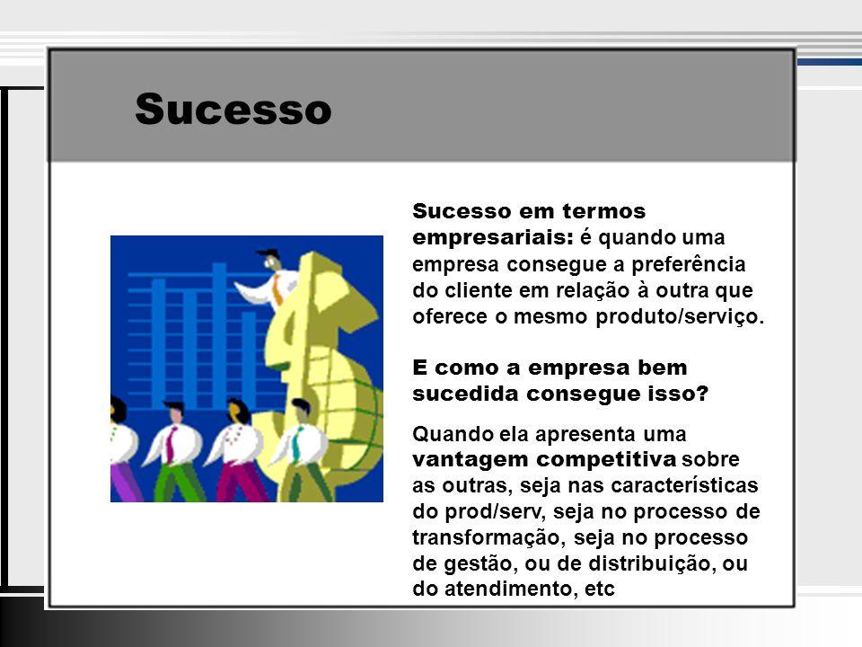 Sucesso Sucesso em termos empresariais: é quando uma empresa consegue a preferência do cliente em relação à outra que oferece o mesmo produto/serviço.