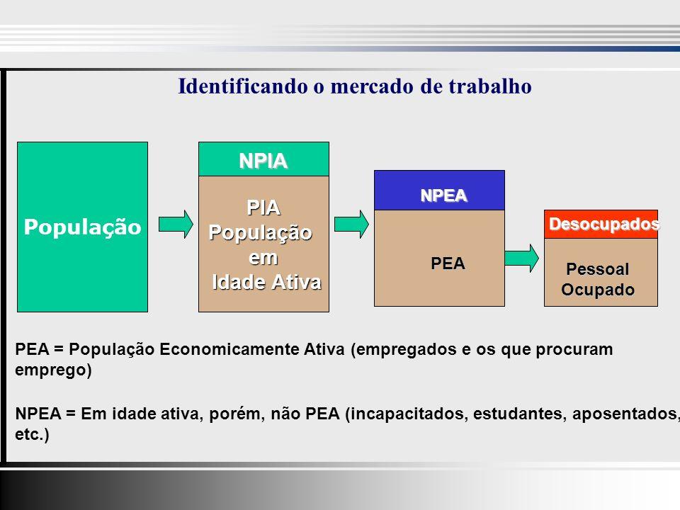 Identificando o mercado de trabalho População PIAPopulaçãoem Idade Ativa Idade Ativa NPIA NPEA PEA Desocupados PessoalOcupado PEA = População Economicamente Ativa (empregados e os que procuram emprego) NPEA = Em idade ativa, porém, não PEA (incapacitados, estudantes, aposentados, etc.)