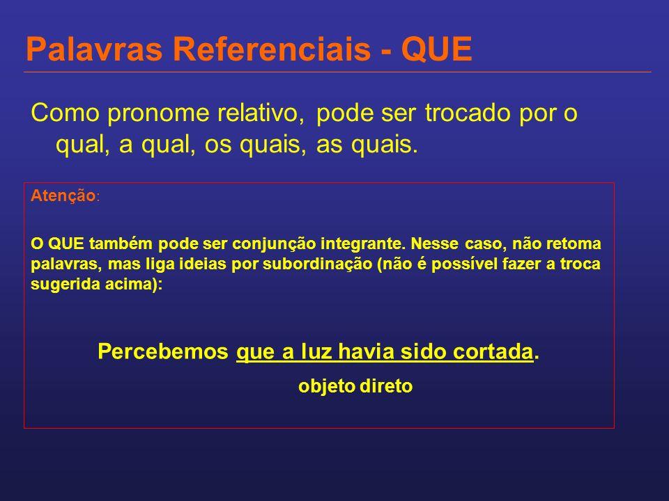 Palavras Referenciais - QUE Como pronome relativo, pode ser trocado por o qual, a qual, os quais, as quais. Atenção : O QUE também pode ser conjunção