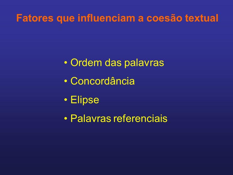 Fatores que influenciam a coesão textual Ordem das palavras Concordância Elipse Palavras referenciais