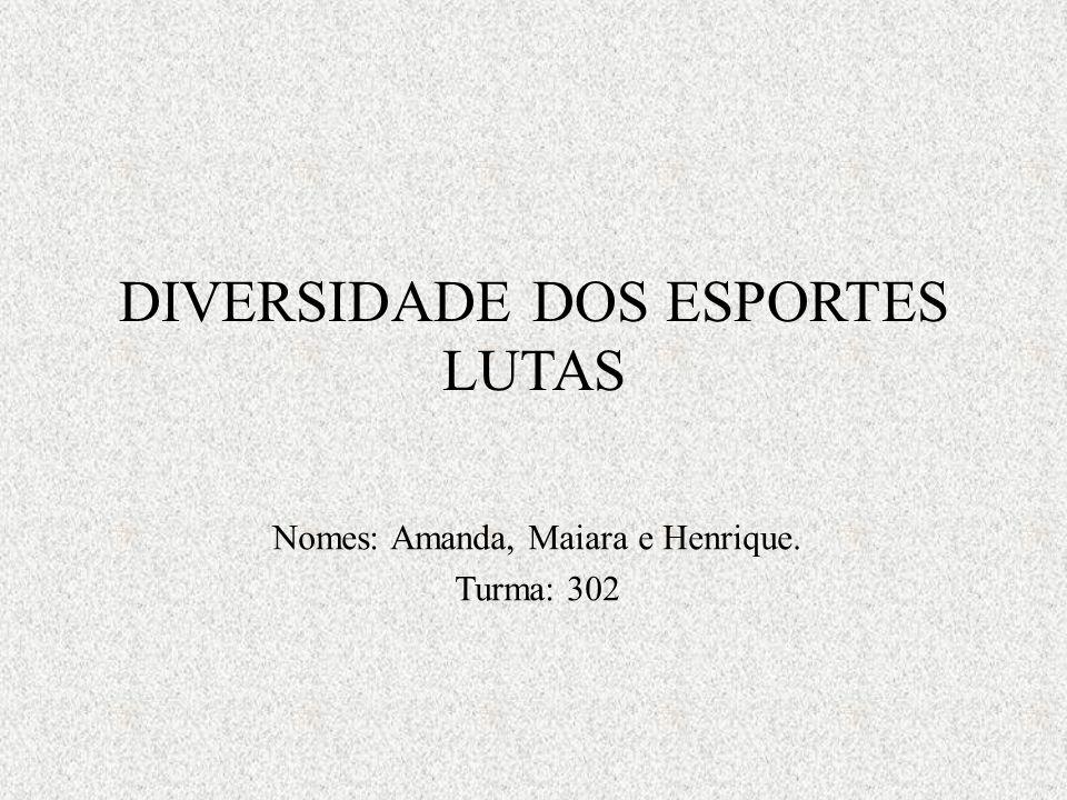 DIVERSIDADE DOS ESPORTES LUTAS Nomes: Amanda, Maiara e Henrique. Turma: 302