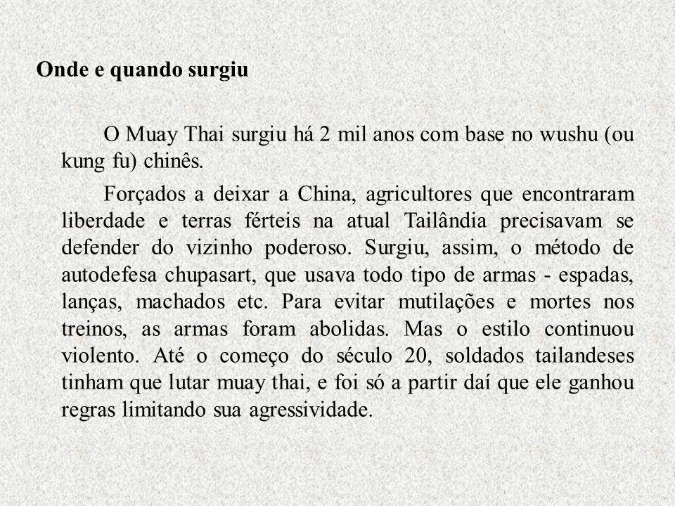 Onde e quando surgiu O Muay Thai surgiu há 2 mil anos com base no wushu (ou kung fu) chinês. Forçados a deixar a China, agricultores que encontraram l