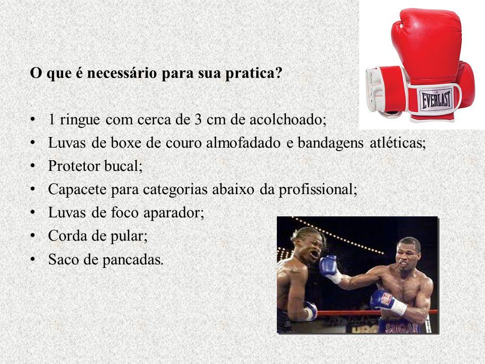 O que é necessário para sua pratica? 1 ringue com cerca de 3 cm de acolchoado; Luvas de boxe de couro almofadado e bandagens atléticas; Protetor bucal