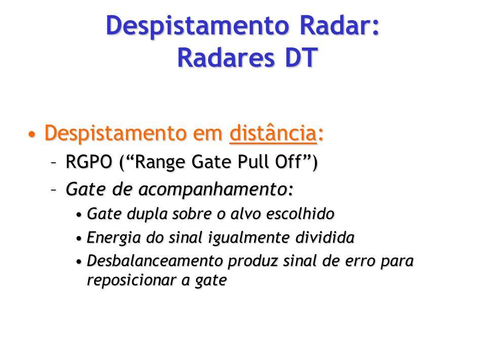 Despistamento em distância:Despistamento em distância: –RGPO (Range Gate Pull Off) –Gate de acompanhamento: Gate dupla sobre o alvo escolhidoGate dupl