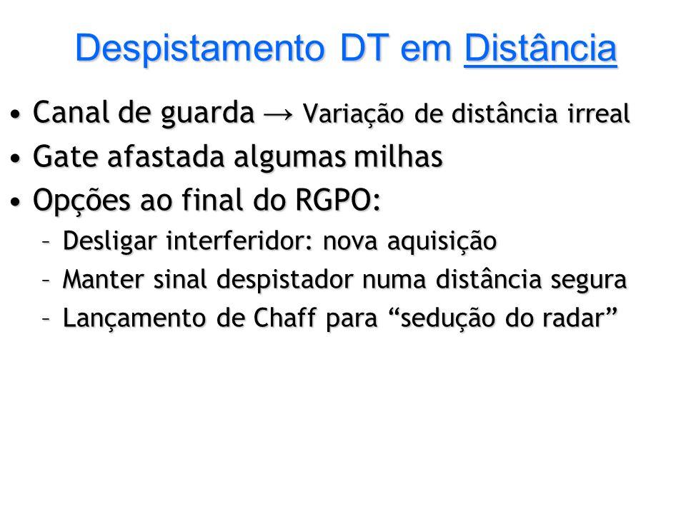Despistamento DT em Distância Canal de guarda Variação de distância irrealCanal de guarda Variação de distância irreal Gate afastada algumas milhasGat