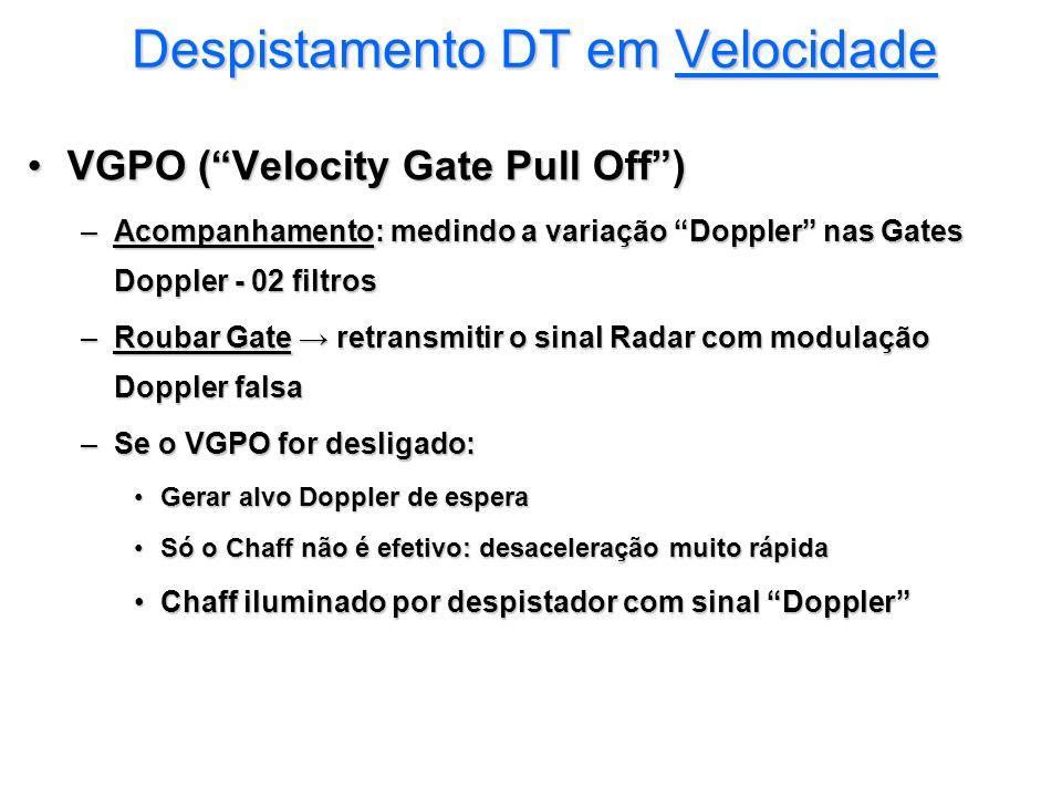 Despistamento DT em Velocidade VGPO (Velocity Gate Pull Off)VGPO (Velocity Gate Pull Off) –Acompanhamento: medindo a variação Doppler nas Gates Dopple