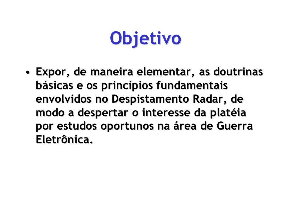 Objetivo Expor, de maneira elementar, as doutrinas básicas e os princípios fundamentais envolvidos no Despistamento Radar, de modo a despertar o inter