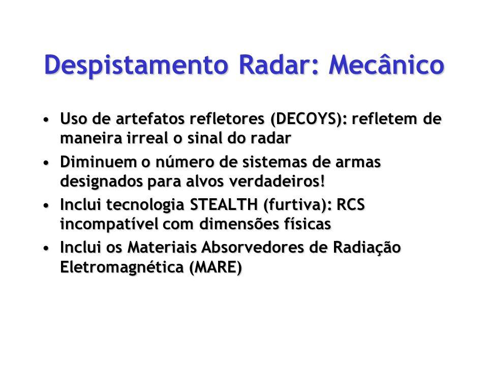 Despistamento Radar: Mecânico Uso de artefatos refletores (DECOYS): refletem de maneira irreal o sinal do radarUso de artefatos refletores (DECOYS): r