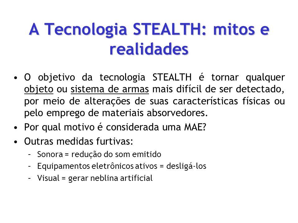 A Tecnologia STEALTH: mitos e realidades O objetivo da tecnologia STEALTH é tornar qualquer objeto ou sistema de armas mais difícil de ser detectado,