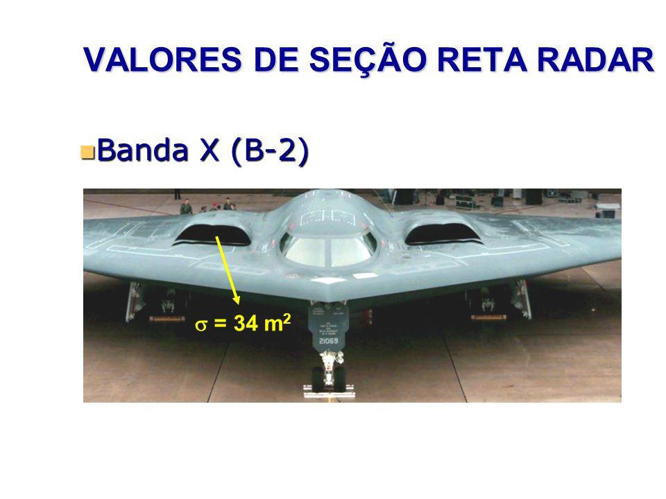 VALORES DE SEÇÃO RETA RADAR Banda X (B-2) Banda X (B-2) = 34 m 2
