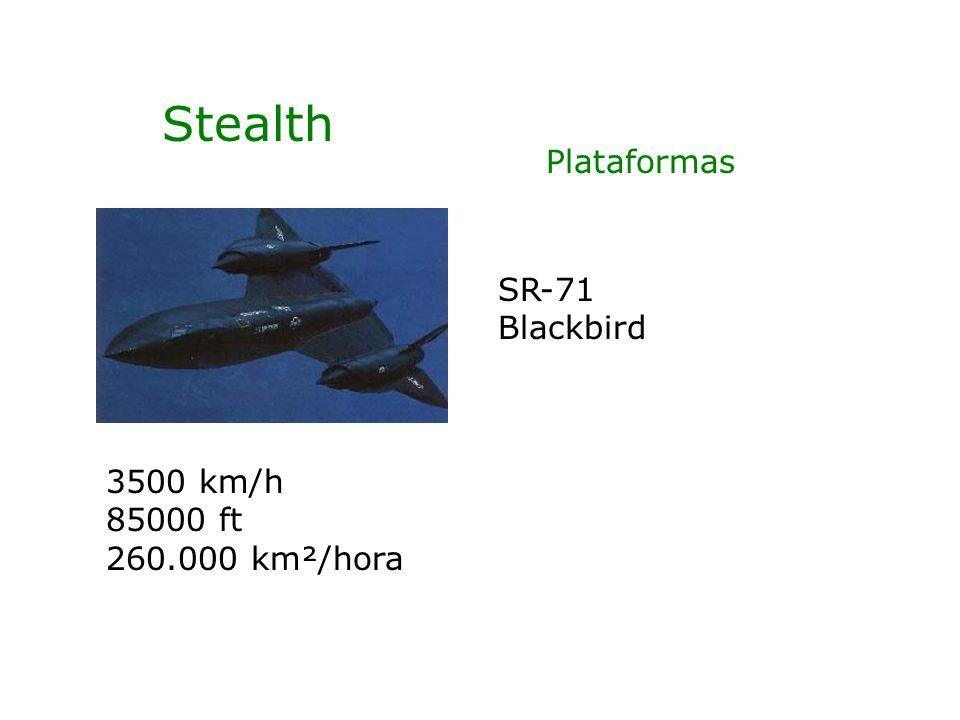 Stealth SR-71 Blackbird 3500 km/h 85000 ft 260.000 km²/hora Plataformas