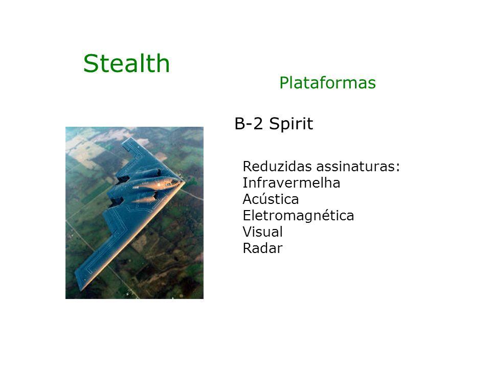 Stealth B-2 Spirit Reduzidas assinaturas: Infravermelha Acústica Eletromagnética Visual Radar Plataformas