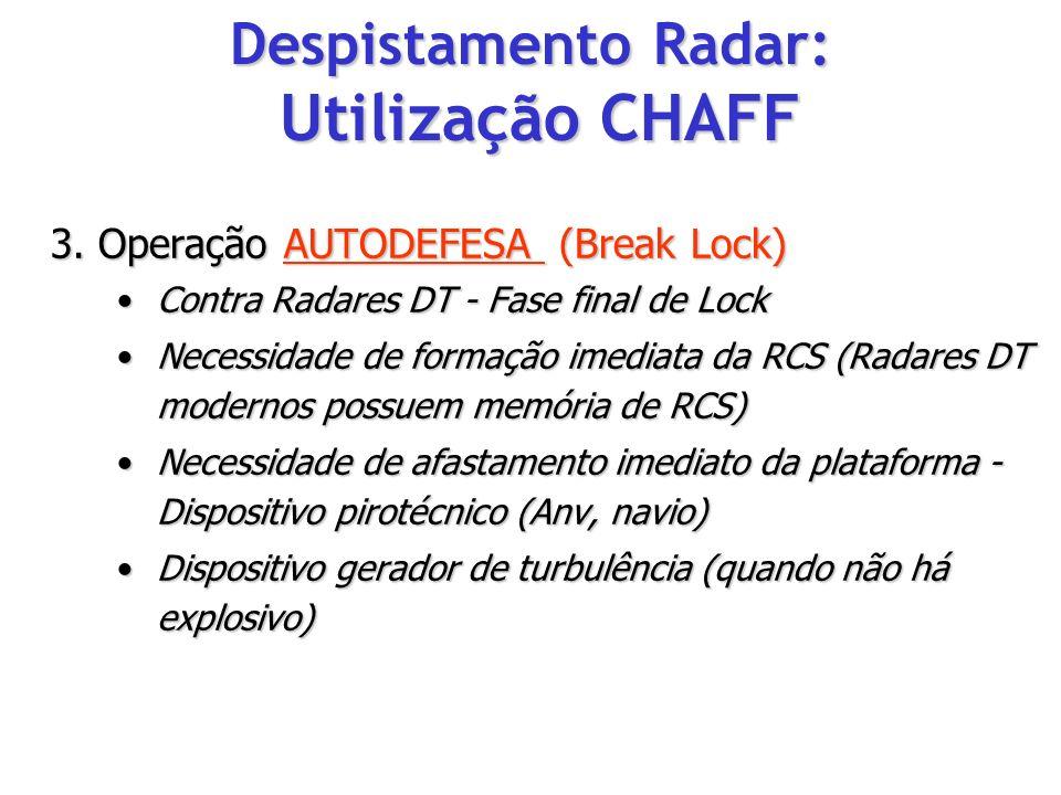 3. Operação AUTODEFESA (Break Lock) Contra Radares DT - Fase final de LockContra Radares DT - Fase final de Lock Necessidade de formação imediata da R