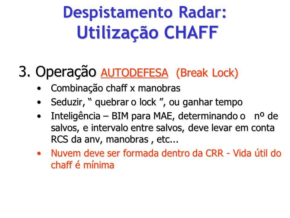 3. Operação AUTODEFESA (Break Lock) Combinação chaff x manobrasCombinação chaff x manobras Seduzir, quebrar o lock, ou ganhar tempoSeduzir, quebrar o