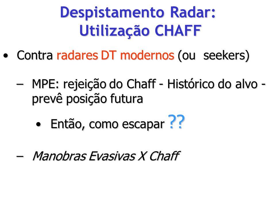 Contra radares DT modernos (ou seekers) Contra radares DT modernos (ou seekers) –MPE: rejeição do Chaff - Histórico do alvo - prevê posição futura Ent
