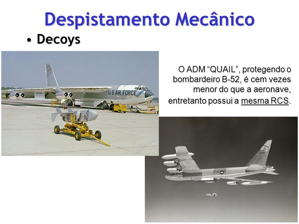 Despistamento Mecânico DecoysDecoys O ADM QUAIL, protegendo o bombardeiro B-52, é cem vezes menor do que a aeronave, entretanto possui a mesma RCS.